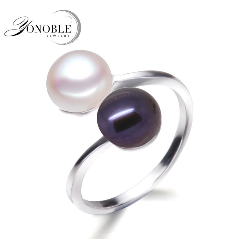 Fekete gyöngygyűrű női természetes dupla gyöngy férfi gyűrű 925 ezüst jegygyűrű gyöngy elkötelezettség lány születésnapi ajándékok