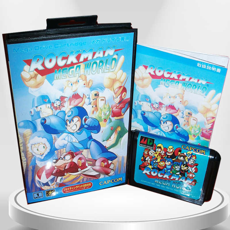 RockMan Mega World Japan Cover with Box and Manual for MD MegaDrive Genesis Video Game Console 16 bit MD card