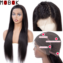 Mobok 13x4 Lace Frontal Human Hair Wigs For Women Pre Plucked Hairline Brazilian Straight Wig With Baby Remy