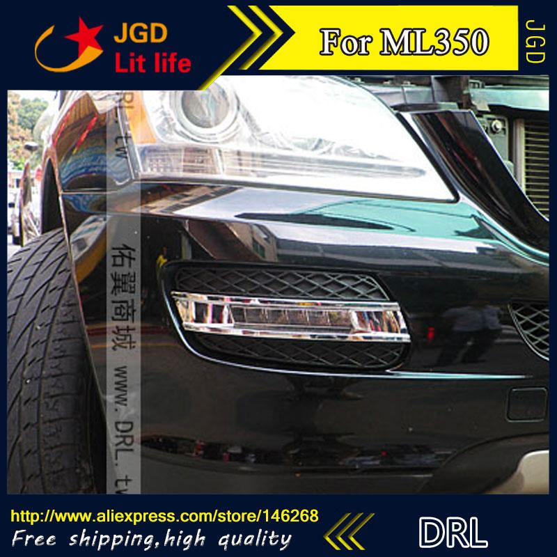 Free shipping ! 12V 6000k LED DRL Daytime running light for Benz ML350 2008 2009 fog lamp frame Fog light Car styling 2pcs 12v 31mm 36mm 39mm 41mm canbus led auto festoon light error free interior doom lamp car styling for volvo bmw audi benz