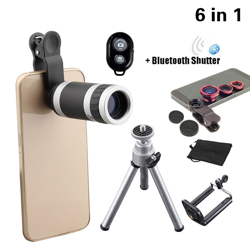 Цена за 2017 6in1 телефон Объективы для фотокамер комплект 8x телефото Lentes рыбий глаз Широкоугольный макро объектив мини-штатив для iPhone 6 6 S 7 8 смартфон