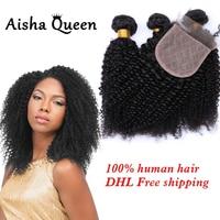 Aisha Queen странный бразильский Человеческие волосы 3 Связки с 1 шелк Синтетическое закрытие волос 4x4 натуральный черный Волосы Remy