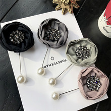 Korea Handmade Modern Flower Rhinestone Brooches Pins Badges Fashion Jewelry For Woman Suits Accessories-YHGWBH002F
