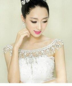 Image 3 - Nueva de lujo de la novia de la boda grande de cristal de encaje de la cadena nupcial princesa plataforma Prom V hombro joyería de cristales para collar