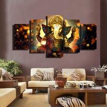 купить 5 Panels Ganesha Wall Art Poster Hindu Gods Canvas Painting Prints on Canvas For Living Room Home Decoration Gift Unframed по цене 838.24 рублей
