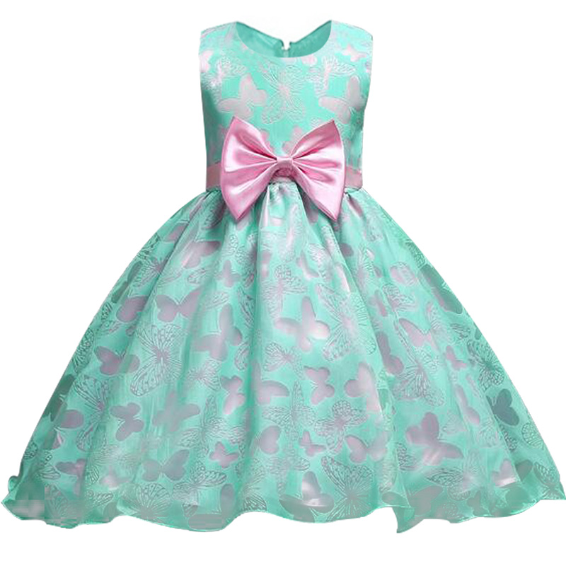 Retail new style summer baby   girl   butterfly   flower     girl     dress   for wedding   girls   party   dress   with bow   dress   for 2-10 Years