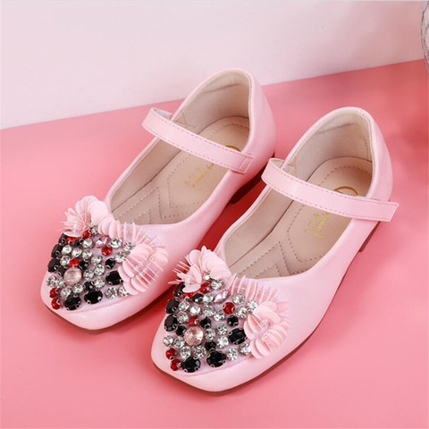 Kids shoes 2019 girls leather shoes spring autumn flat rhinestone flowers children soft bottom princess shoes Lahore
