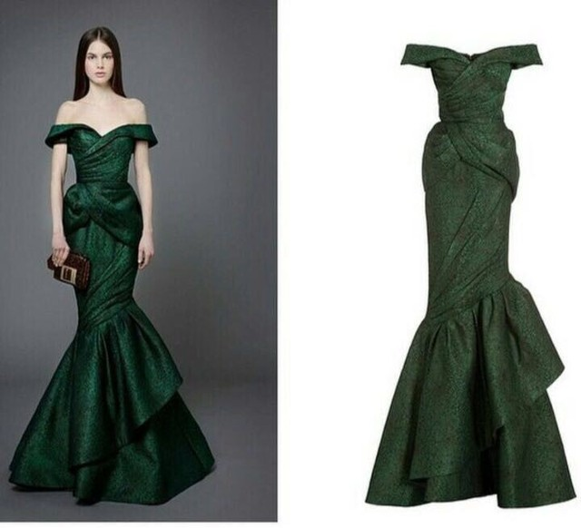 2016 Dark Green Off the Shoulder Elegant Mermaid Prom Dresses Ruffles Long Prom  Gown emerald green Evening Party Dress GD612 27d4e03ec