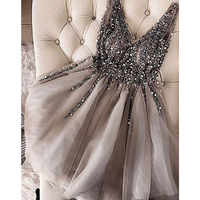 New Fashion 2019 Sexy V neck Cocktail Dress Sparkle Crystal Beaded Gray Tulle A Line Robe Cocktail Dresses Vestidos Coctel