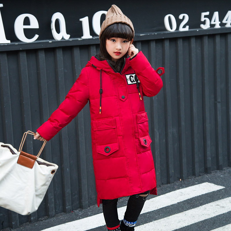 girl Winter Jacket Duck Down Jacket Kids Thick Warm Winter Jackets with Fur Coats Teenage girls Clothing 6 8 10 12 14 Year a15 girls jackets winter 2017 long warm duck down jacket for girl children outerwear jacket coats big girl clothes 10 12 14 year