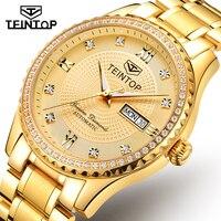 Nieuwe TEINTOP Automatische Mannen Luxury Gold Mechanische Horloges Waterdicht Casual rvs Heren Horloge saat erkekler