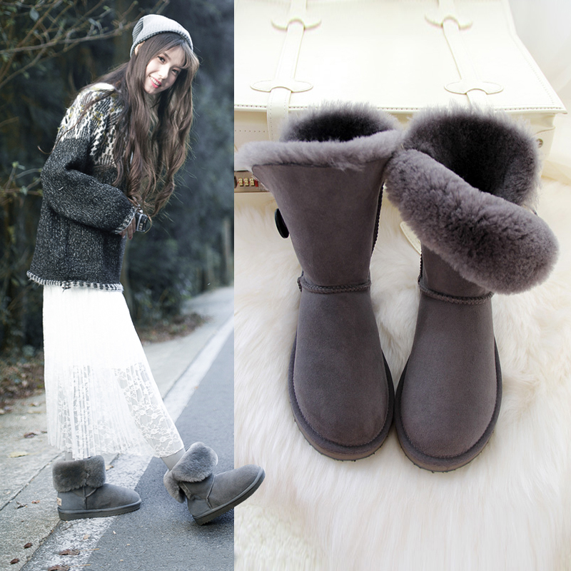 2017 high quality fur boots female natural leather waterproof coltsfoot fashion free shipping winter women shoes snow