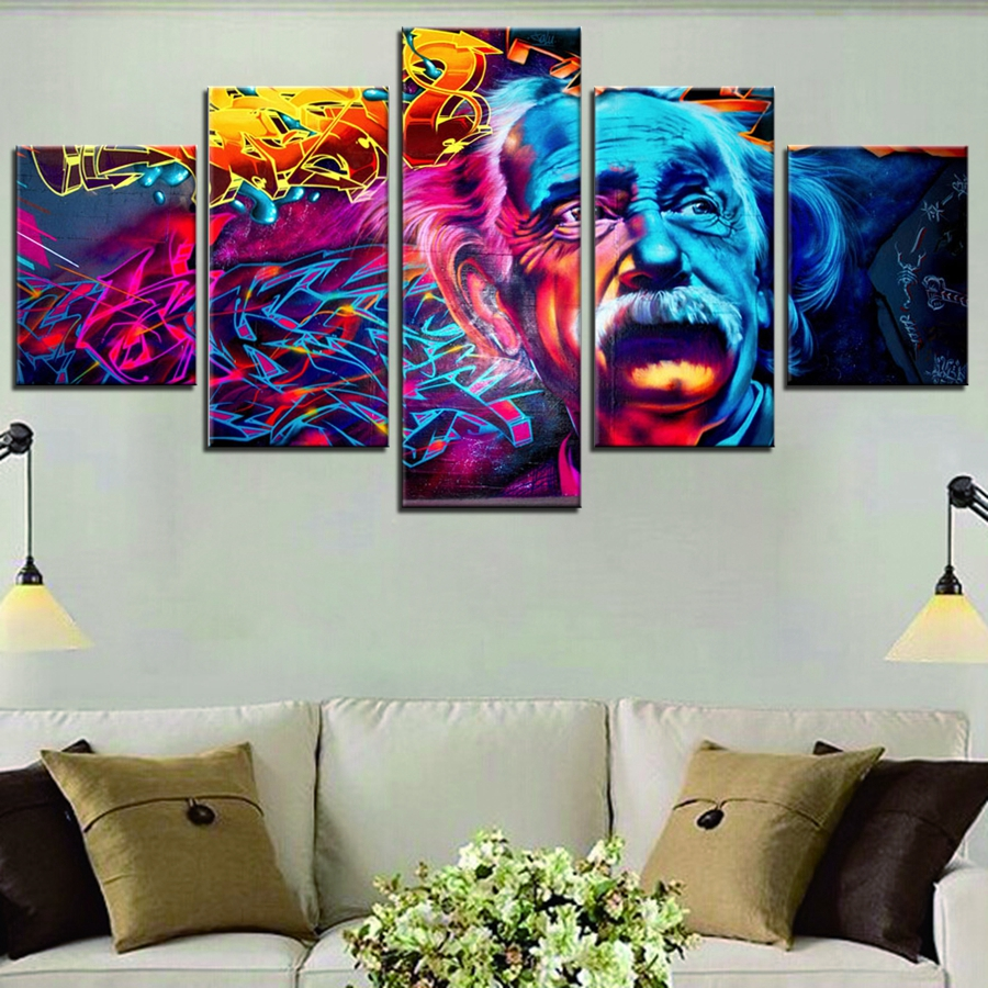 Albert Einstein Scientist Graffiti Wall Art Painting Canvas Print - Decoración del hogar