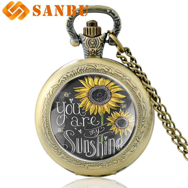 'You Are My Sunshine' Charm Necklace Sweetheart Quartz Pocket Watch Vintage Bronze Men Women Sunflower Couple Antique Jewelry