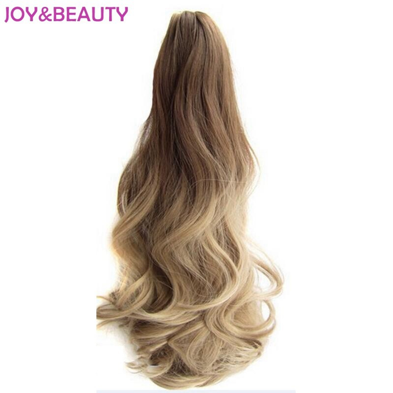 JOY BEAUTY Hair Long Wavy Ombre 20 Clip On Hair Extensions Claw Pony Tail Synthetic Hairpiece