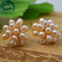 Classic Pearls Earrings ,Natural Pink Color Real Pearl Jewellery,Flower Earring ,Fashion Lady's Gift Wedding Party Jewelry