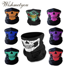 WISHMETYOU Skeleton Scary Mask Halloween Party Half Out Ingress Scarf Funny Outdoor Motorcycle Prop