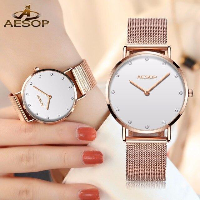 AESOP Uhr Frauen Uhren Rose gold Milan Edelstahl Stee armband Damen uhr NEUE Ultra-dünne strass große zifferblatt Quarz uhr