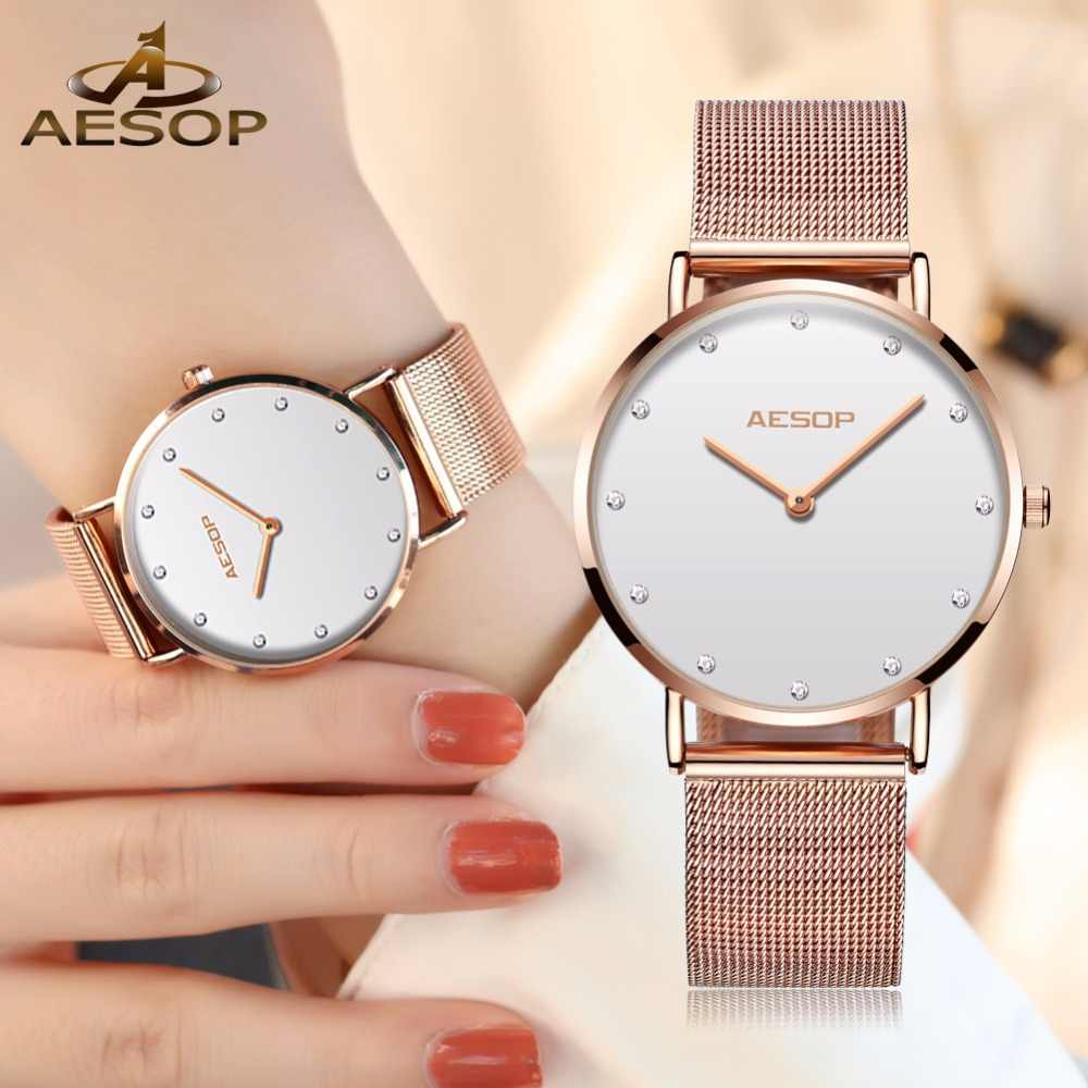 1d069a378155 AESOP Watch Women Watches Rose gold Milan Stainless Stee bracelet Ladies  watch NEW Ultra-thin