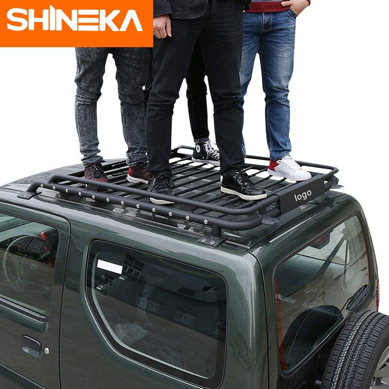 SHINEKA Voiture Extérieur 135x106x15 cm barres de toit Panier En Métal Étanche porte-bagages Boîte pour Suzuki Jimny 2007 +