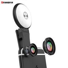 FANBIYA Cellular Cellphone Digital camera Lens Package Common Lenses zero.65x Vast Angle + 10x Macro + LED Selfie Ring Flash Mild for iphone sony