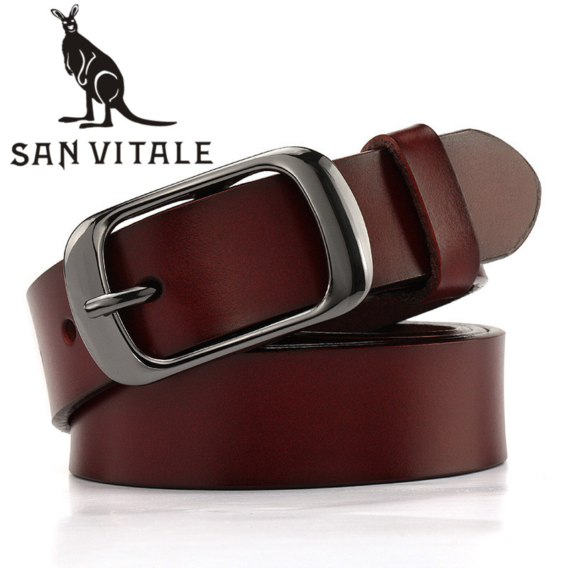 Women'S   Belt     Belts   Genuine Leather Suspenders Waistband Silver Clothing For Jeans Accessories Apparel Waist Summer Woman Black