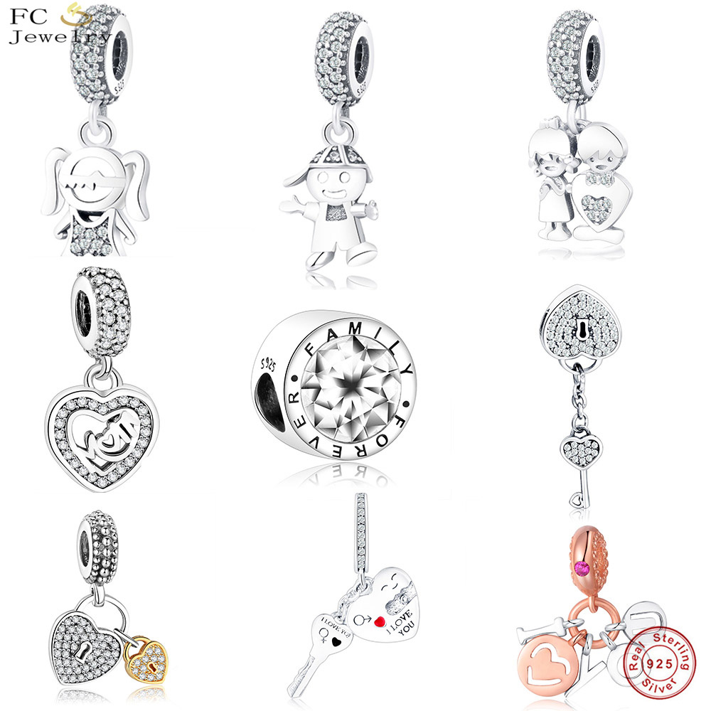 78cc54d58 FC Jewelry Fit Original Pandora Charm Bracelet 925 Sterling Silver European Girl  Boy Family Bead Necklace Pendant Berloque DIY -in Beads from Jewelry ...