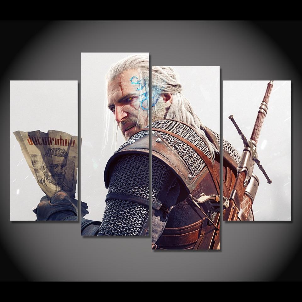 4 Pcs/Set Framed HD Printed Game The Witcher 3 Geralt