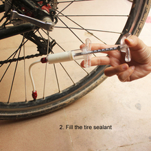 Bicycle Vacuum Tire Tube Repair Fluid Filling Tool Refilling Bike Tubeless Injector