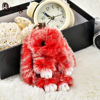 Double Color Cute Animal Fluffy Bunny Keychain 8 Color 13 15 Cm Rex Genuine Rabbit Fur