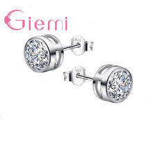 GIEMI Classic Round Cubic Zircon Stud Earring For Women Girl Gifts 925 Sterling Silver Austrian Crystal Bijoux one pair Hot Sale(China)