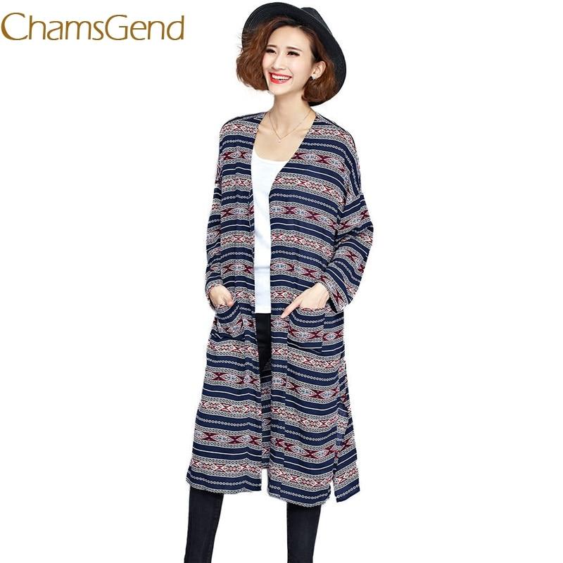 Chamsgend 2017 New Autumn Winter Knitted Crochet Women Sweater Long Twisted cardigan dress Print sweaters cardigan women 77#