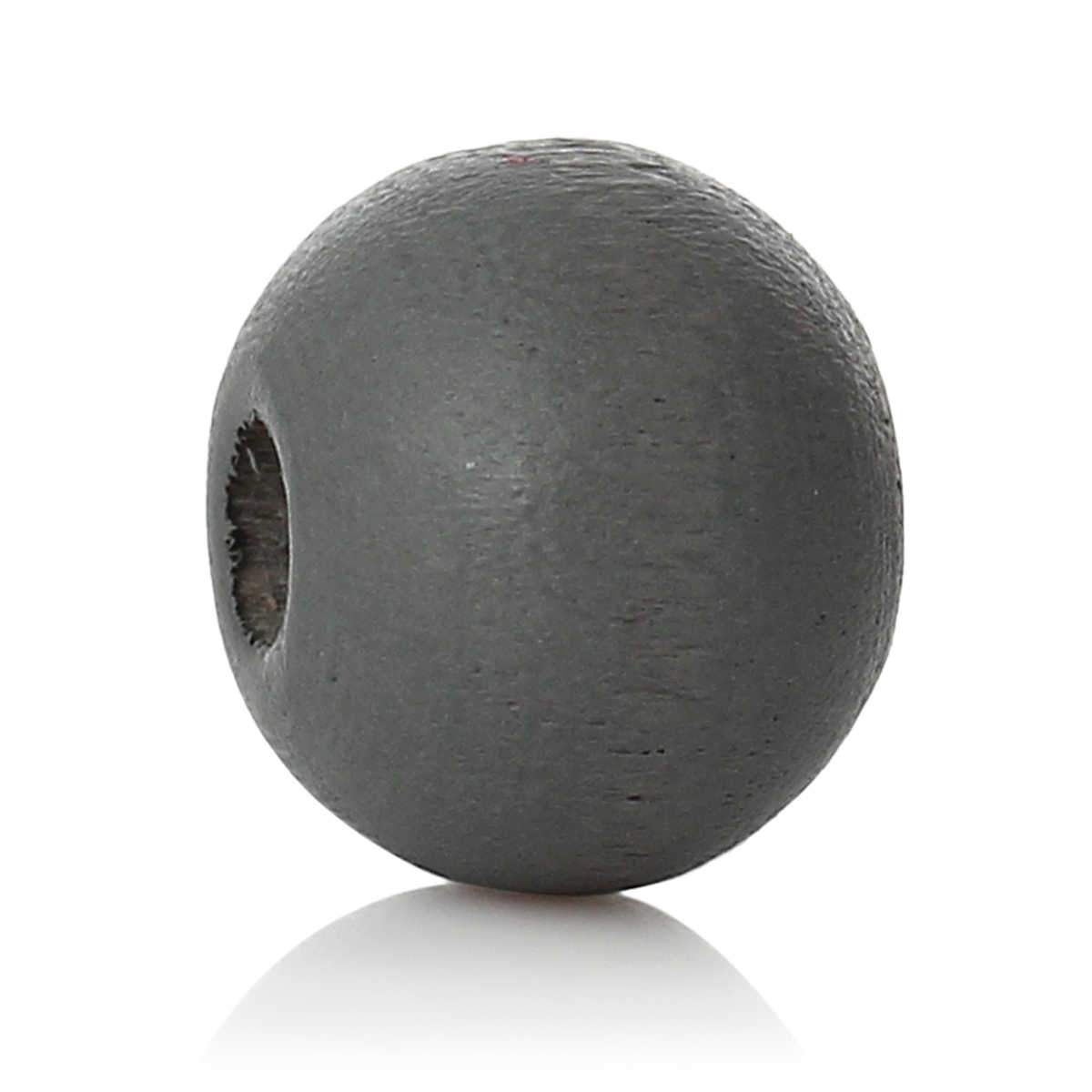 "DoreenBeads Wood Spacer Beads Round Dark gray About 6mm( 2/8"") Dia, Hole: Approx 2.1mm, 150 PCs"
