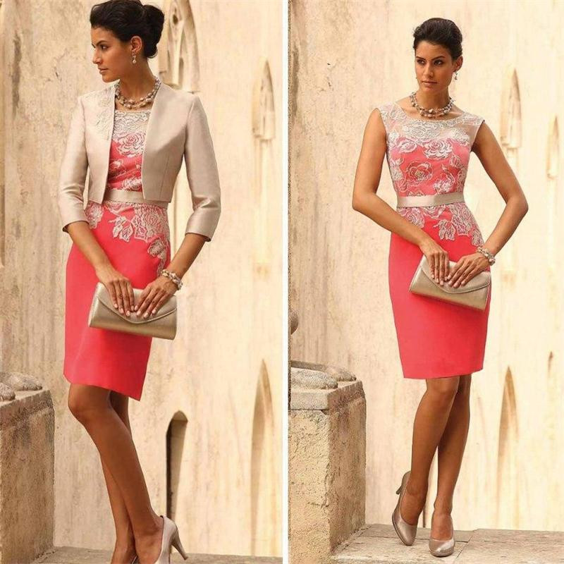 Two Pieces Mother Of The Bride Dresses With Jacket 2017 Scoop Evening Party For Women Handwork Wedding Guest Outfit In