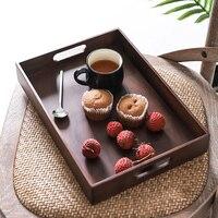 Solid Wood Tea Tray Japanese Black Walnut Snack Tray Tray Coffee Table Cup Storage Tray