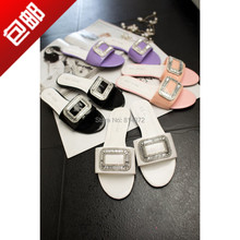 2014 flat slippers leather paillette side buckle rhinestone female shoes belt women's shoes