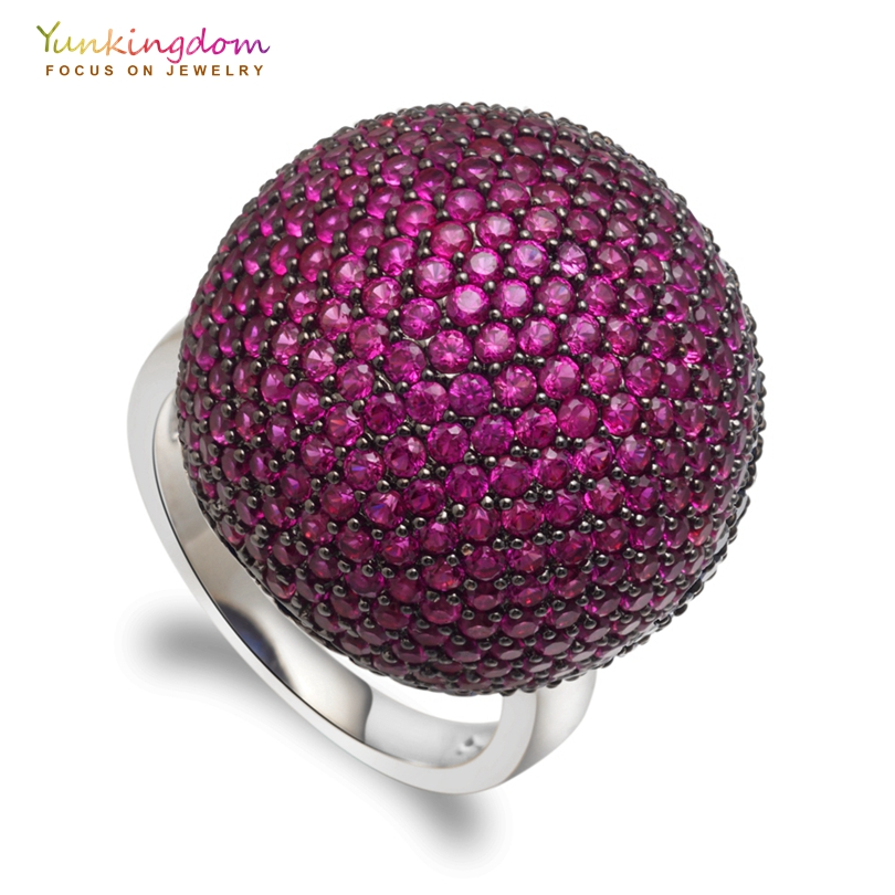 Yunkingdom luxury brand spherical rings for women clear zircons jewelry rings with Italian woman favorite