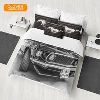 CLOVER LANGUAGE 100 Cotton Bedding Set 3d Classical Racing Car Printed 3Pcs Duvet Cover Pillowcase Bed