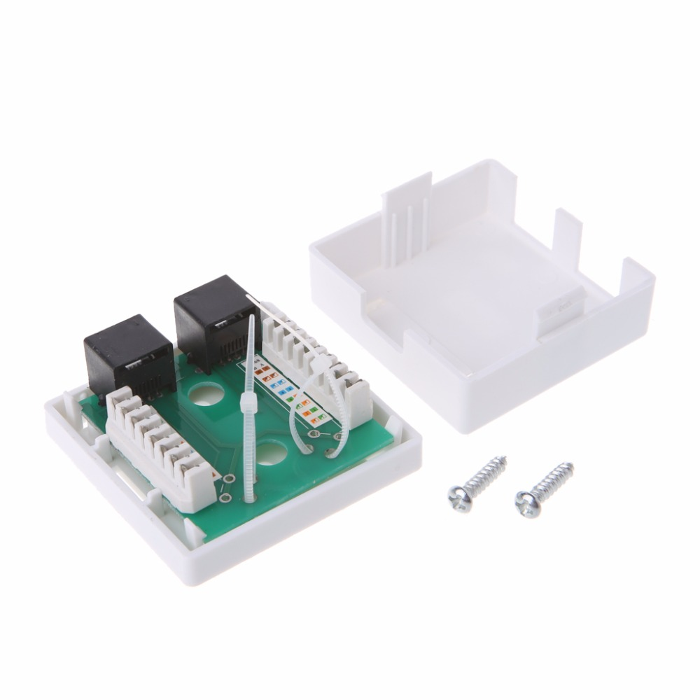High Quality RJ45 Junction Box CAT5e Network Connector 2 Port Desktop Extension Cable Ethernet Box White C26