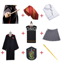 Free Shipping Gryffindor Hermione Granger Cosplay Robe Cloak Skirt Uniform Wand for Halloween for Harri Potter Cosplay