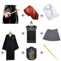 Free Shipping Gryffindor Hermione Granger Cosplay Robe Cloak Skirt Uniform Wand for Halloween