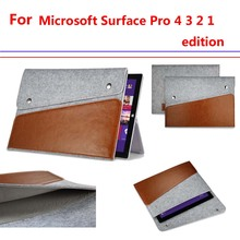 microsoft surface pro 4 3 2 12 inch case Ultrabook Laptop Felt Sleeve pouch portfolio Carrying bag Genuine leather cover bag