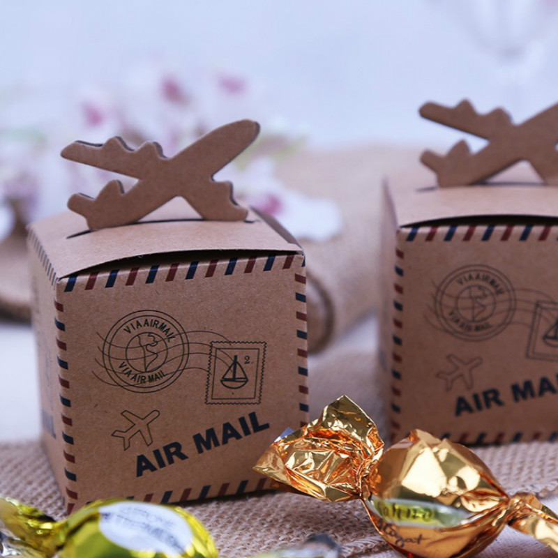 12PC Ctrue Vintage Kraft Paper Candy Box AirMail Wedding Favor Boxes For Travel Theme Decoration Mariage In Gift Bags Wrapping Supplies From Home
