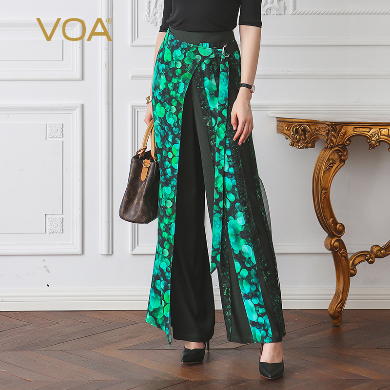VOA 2018 Spring Summer New Green Plus Size Loose Palazzo Pants Casual Women Wide Leg Pants Heavy Silk African Print Trouser K115 palazzo flowers print wide leg flare pants