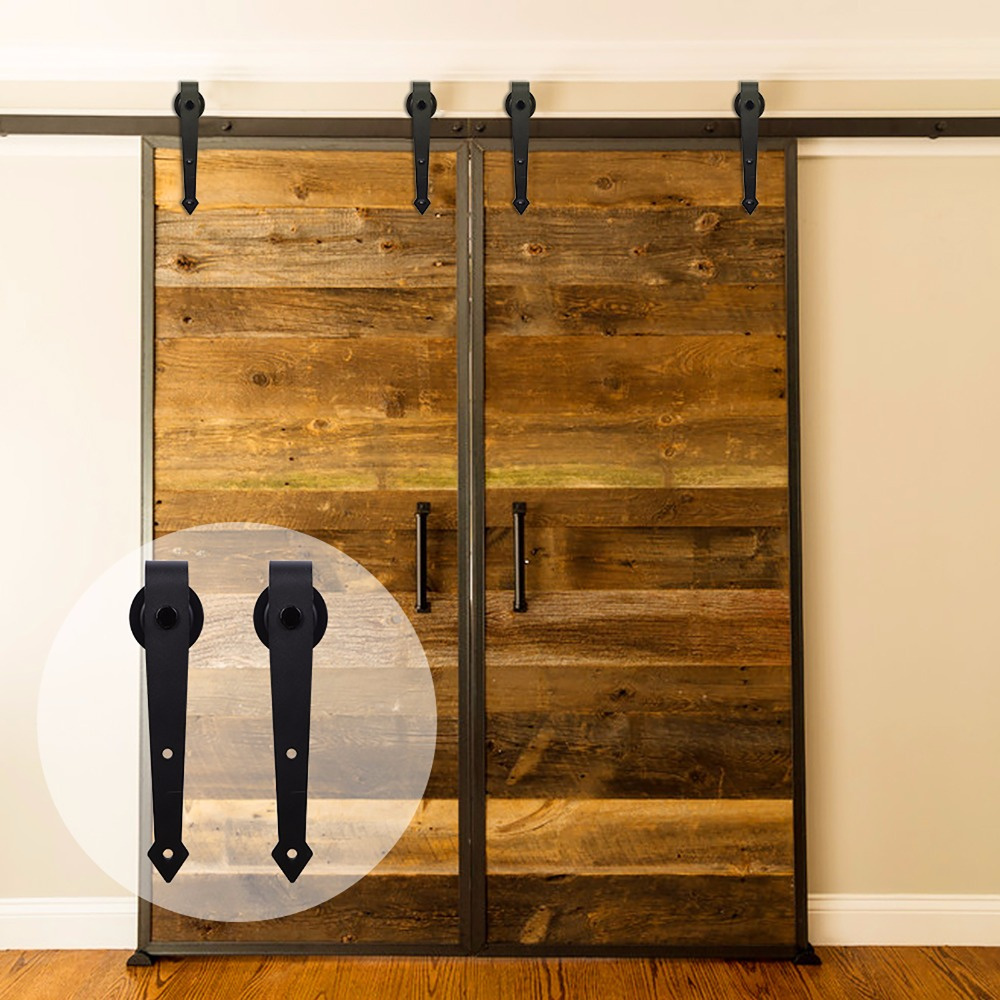 LWZH 14FT/15FT American Country Black Steel Arrow Shaped Sliding Barn Door Hardware Rail Track Kits For Sliding Double Door