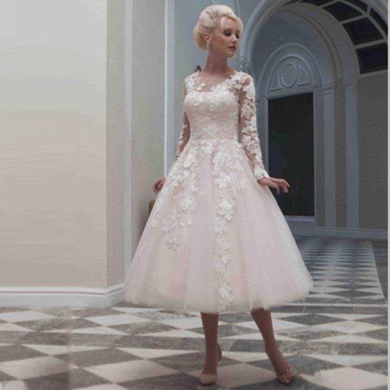 Elegant Long Sleeve Tea Length Wedding Dresses Simple: 2016 Elegant Ivory Lace Wedding Gowns Long Sleeves Tea