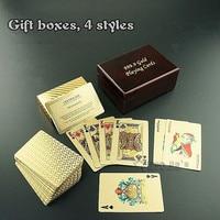 Poker Cartes À Jouer Casino 24 K Karat Feuille D'or Plaqué Jeu Avec Boîte en bois Cadeau Spécial Texas Hold'em Bon Juegos de mesa poker