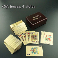 New 24K Karat Gold Foil Plated Game Poker Casino Playing Card With Wooden Box Special Gift