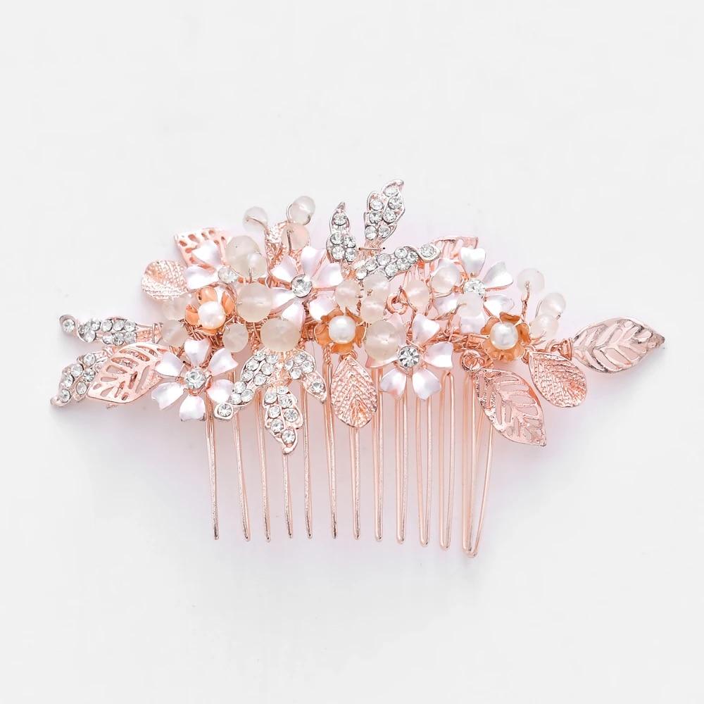 Bridesmaid Hair Accessory Rose Gold Wedding Hair Clip Floral Crystal Hair Clip Bridal Hair Comb Crystal Hair Slide Crystal Hair Pin