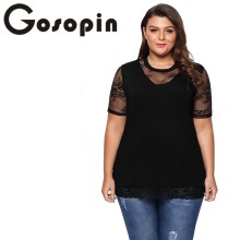 Gosopin Floral Lace Plus Size Short Sleeve Summer Tshirt Splice Black O Neck Fashion Women Top Solid Casual Shirt Blusas 250779